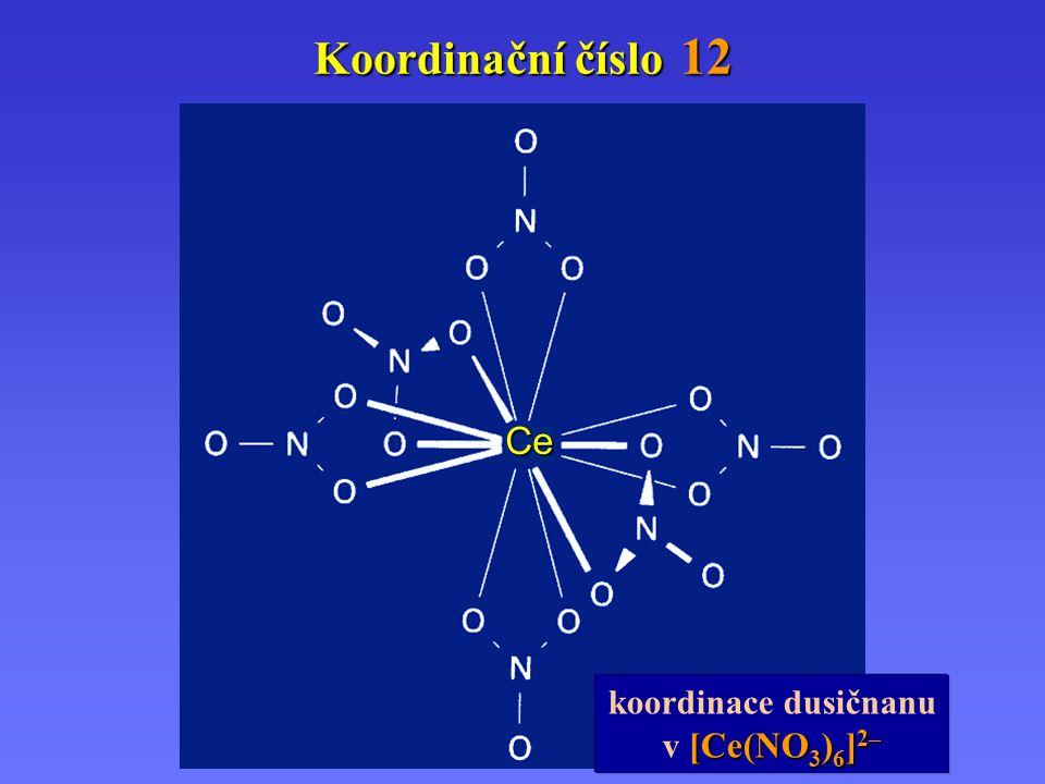 Koordinační číslo 12 Ce koordinace dusičnanu v [Ce(NO3)6]2–